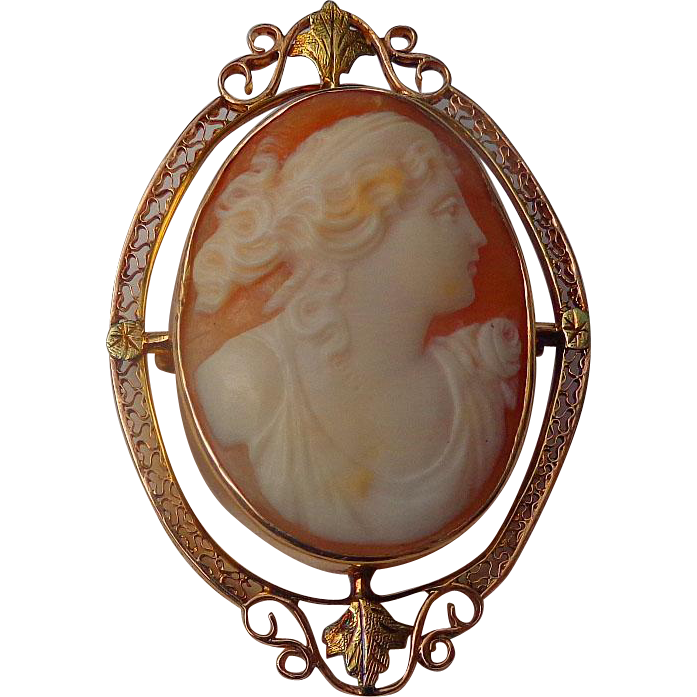 Edwardian 10kt. Cameo Brooch with Deep rich colors