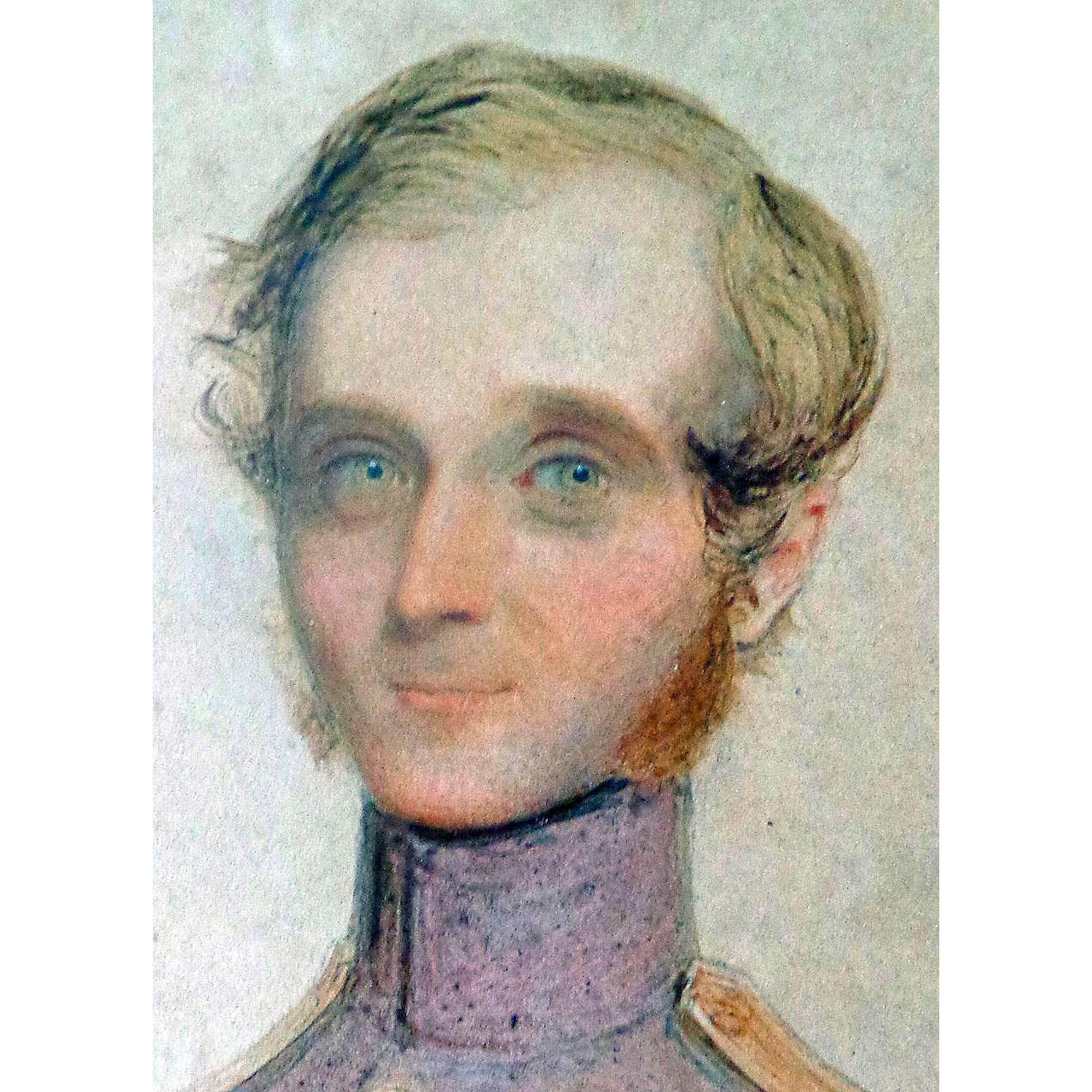 Miniature Portrait of Dashing Military Officer in Japan Lacquer Frame c.1850