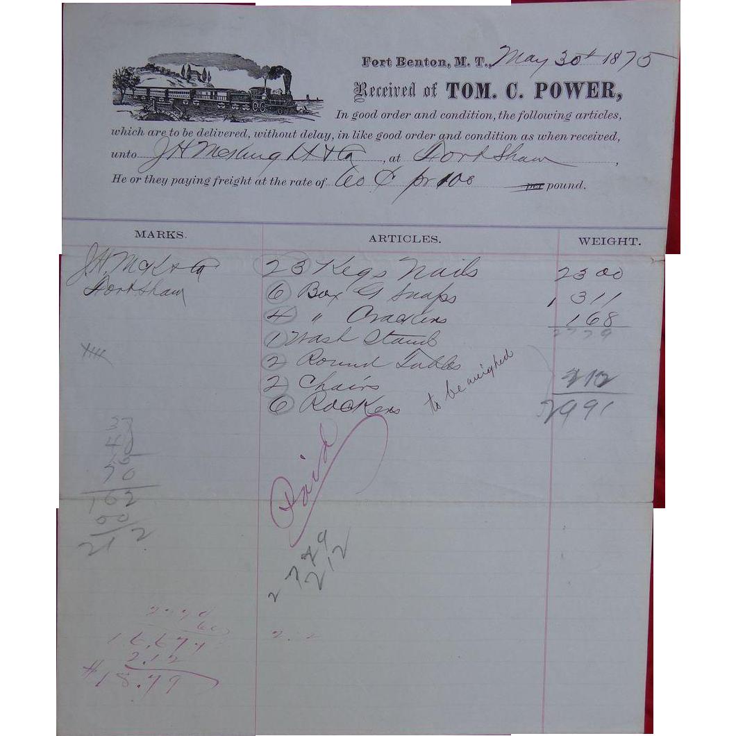 Fort Benton Montana Terriority Railroad Supply Invoice for Tom C.Power May 30 1875