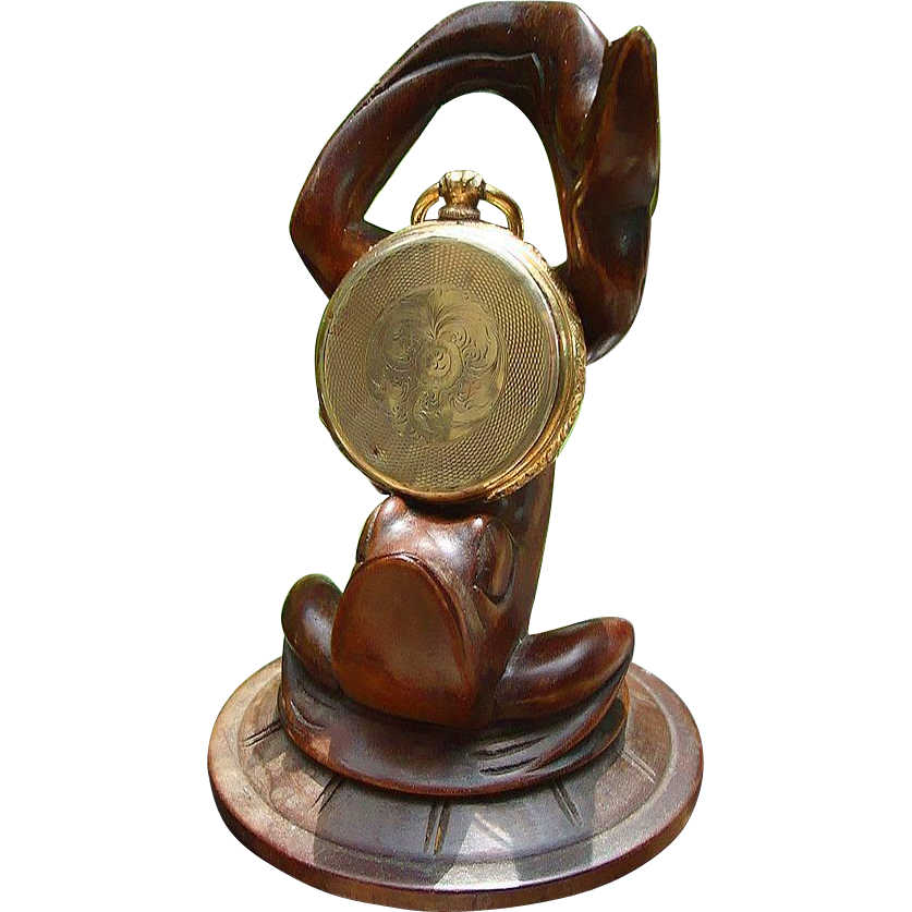 Victorian Pocket Watch Stand of Aerobic Frog... Hand Carved of Mahogany