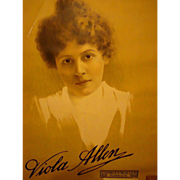 Viola Allen Theater & Silent Film Star Broadside Poster  c.1890's Sleepy Hollow Cemetery