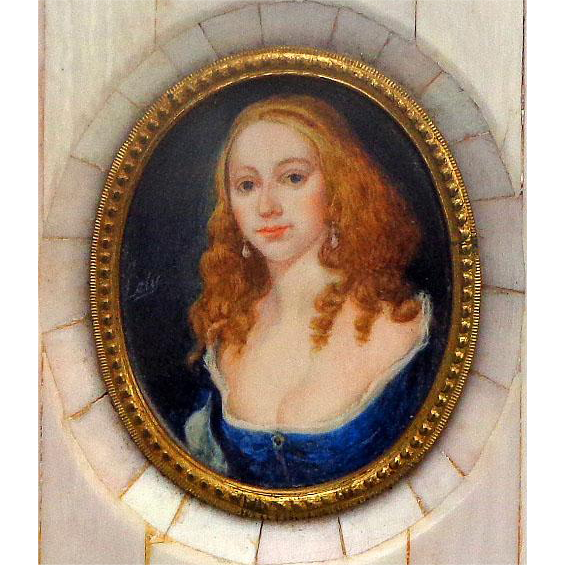 Miniature Portrait of Beautiful Red Head Woman Signed Lely