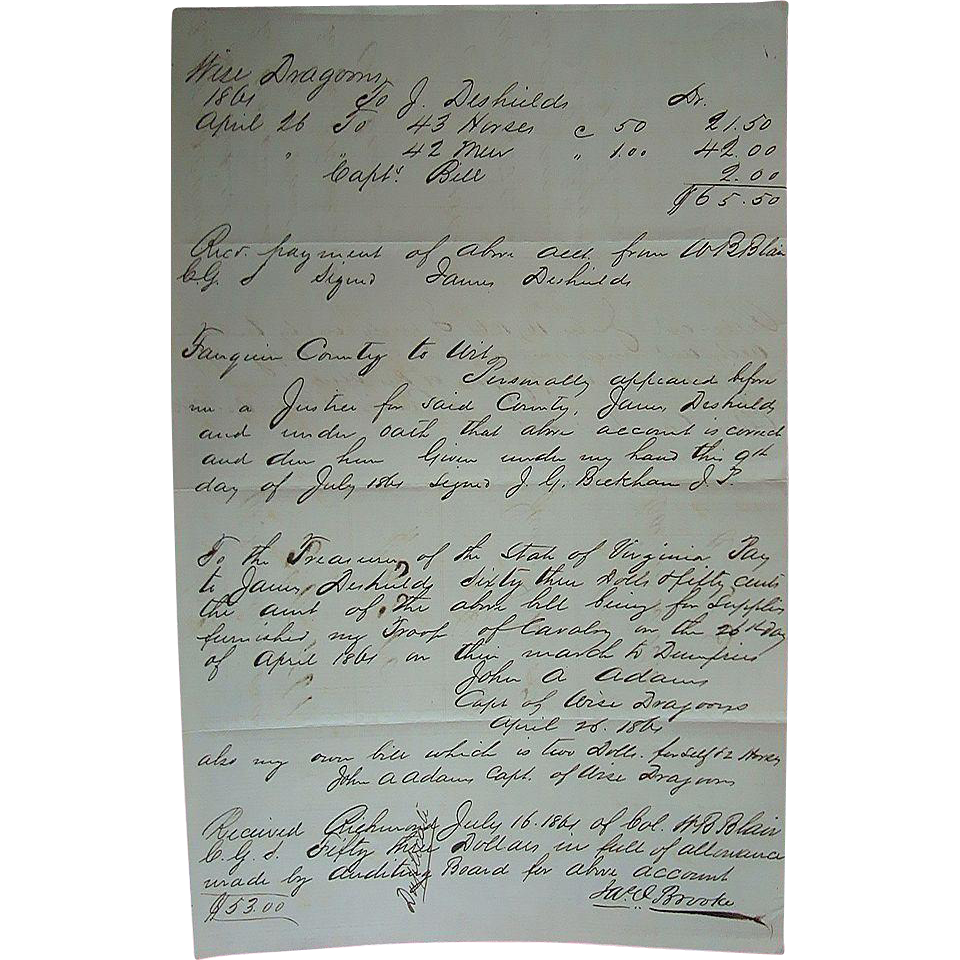 Civil War Confederate Payroll Document for WISE DRAGOONS 1861 Fauquier Wise County Virginia