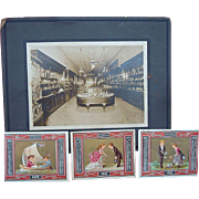 Tiffany Jewelers Store Cabinet Photo with scarce Tiffany Trade Cards 1871