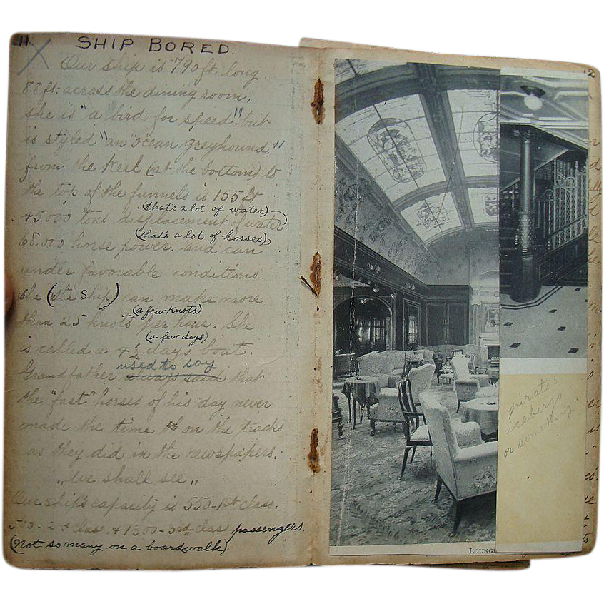 Traveling Sisters, 1915 Ocean Liner Travel Diary Directly Referencing Lusitania, with Photographs of fatal ship and Related Correspondence.