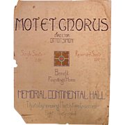 Daughters of the Revolution Benefit Poster 1922 Memorial Continental Hall Motet Chorus