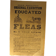 RARE 1830's  Signor Bertolotto's original Exhibition of the Educated Fleas Flyer Side Show Circus