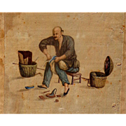 Chinese Silk Slipper Cobbler Painted on silk by unknown artist, 19th century