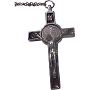 Surreal Hand-Forged Crucifix Necklace with 19th century St. Benedict Coin