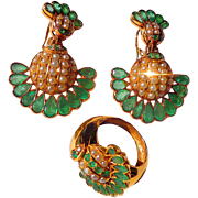 22 ct. Gold Art Deco c.1930's Indian Bridal Set Emeralds and Pearls...INCREDIBLE