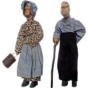 c.1930's Hand Carved Folk Art Dolls Ma and Pa Kettle