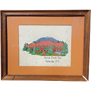 c.1940's Folk Art Cross-Stitch of Grove Park Inn,Asheville,NC