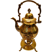 Eloquent Brass Tea Pot with Stand & Burner