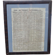 RARE 1860 Southern Confederacy Newspaper Jeff Davis Charles Sumner Hannibal Hamlin