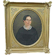 Early American portrait on oil of lady identified as Susan B. Anthony in large Court Frame