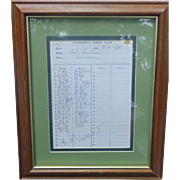 Bobby Fisher Original Signed Chess Match Score sheet 1964 Wachusett Chess Club