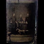 Three Men and a Dog Tintype Photograph