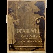 1919 Silent Film Movie Poster PEARL WHITE and The Lighting Raider Boris Karloff Day View