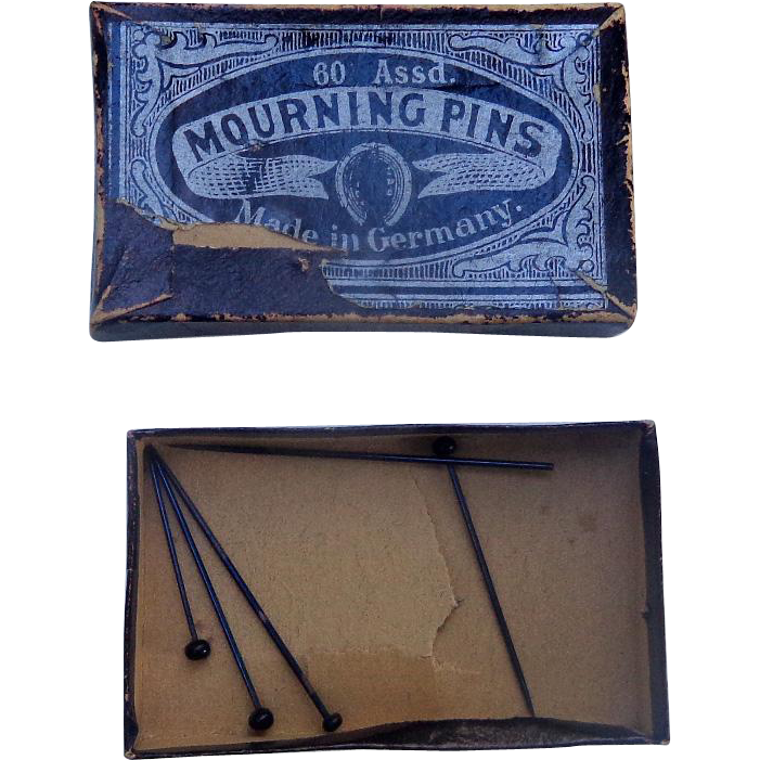 Victorian Mourning Pins in original Box