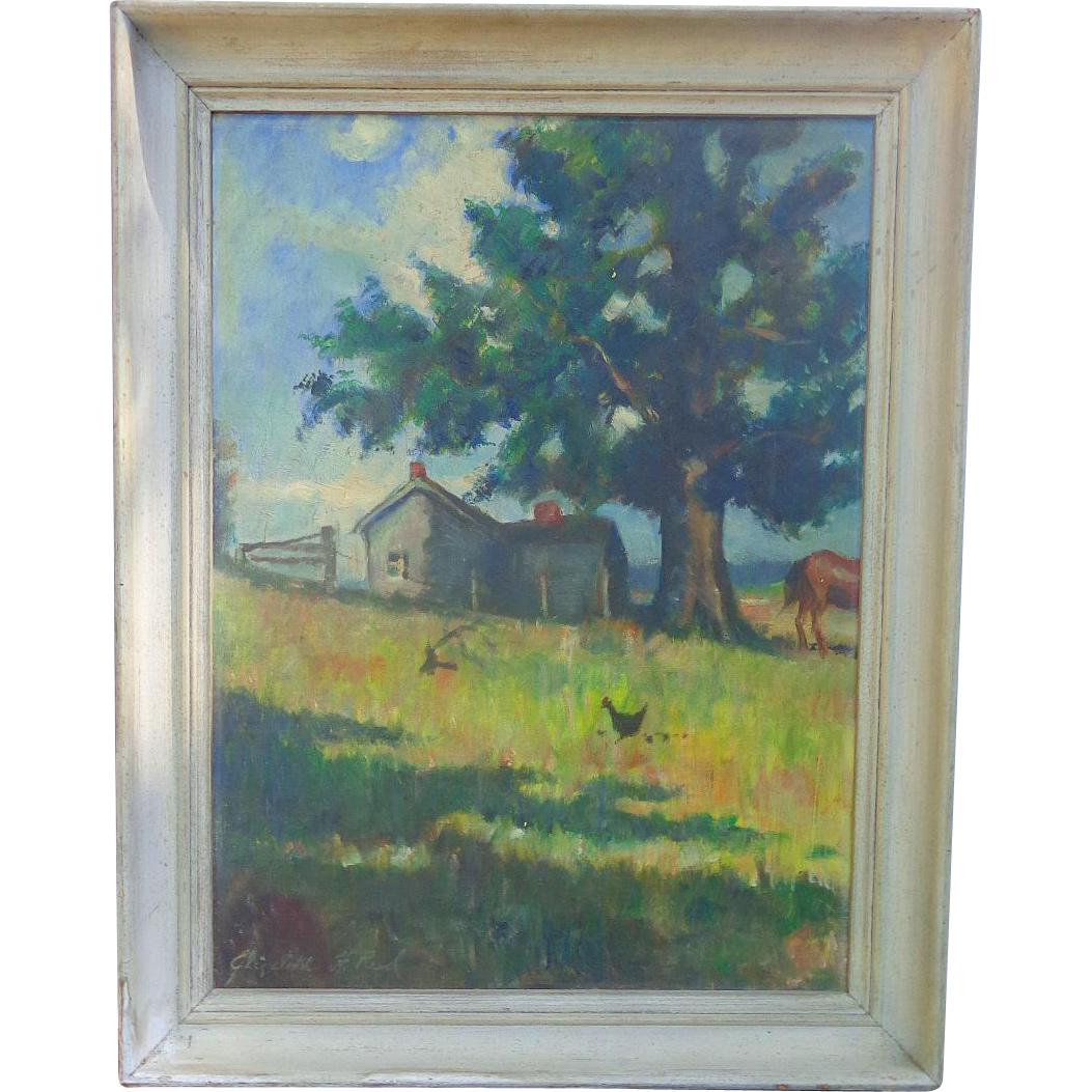 Fabulous Folk Art Oil Painting Tennessee State Farm First Prize Winner of 1936