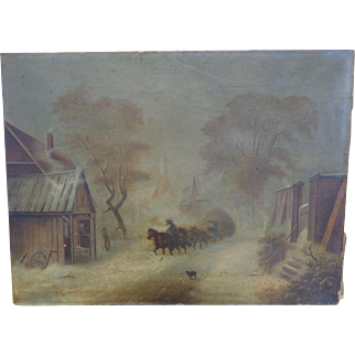 19th century Oil Painting of Rural American Village