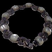 Classic Vintage Moonstone Sterling Silver Ladies Bracelet