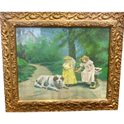 Superb Victorian Framed Chromolithograph Print Making Friends with St. Bernard Dog