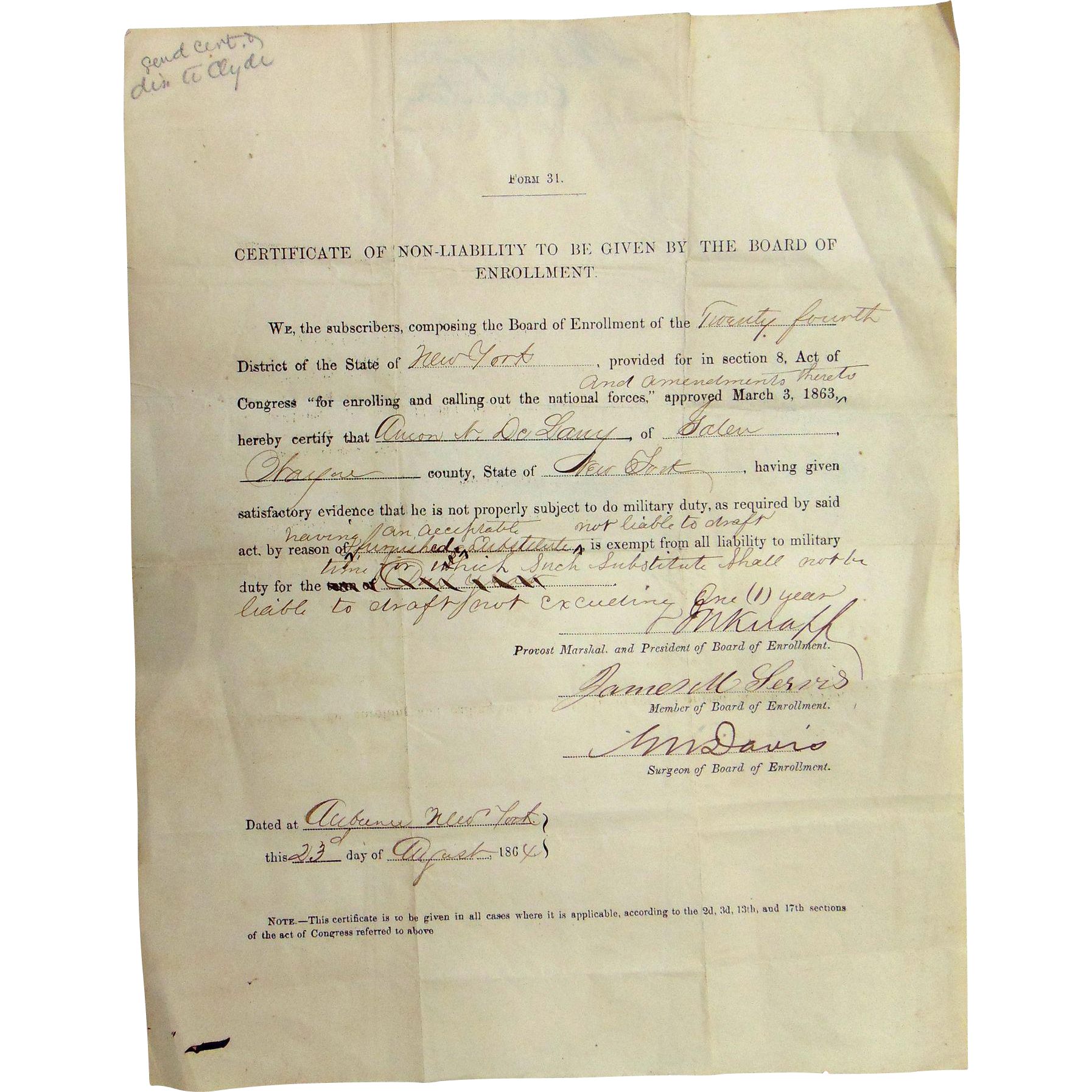 Rare Civil War Certificate of Non-Liability to Serve  Galen,Wayne County New York