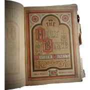 The Illustrated National Family Bible with the Commentaries of Scott and Henry  Hardcover – 1870