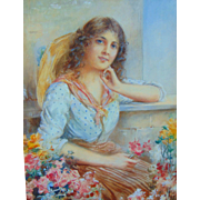 William Joseph Carroll, (1842-1902) Gorgeous Portrait of Lady with Flower Basket.