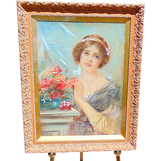 William Joseph Carroll, (1842-1902)  Superb Painting of Young Lady with Beauty Mark