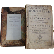 American 1754 Holmes Family Bible with Genealogical Records & Declaration of American Citizenship