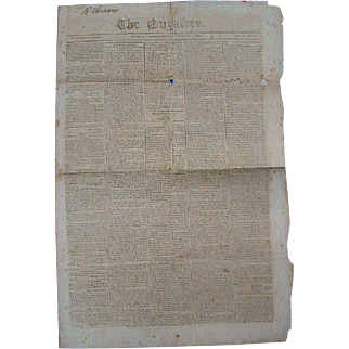 Richmond,Va. Enquirer 1814 Slave Auictions John Quincy Adams Henry Clay Indian Attacks