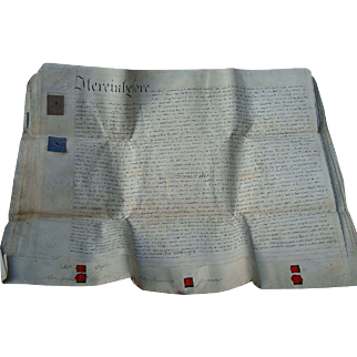English Marriage Indenture 1828 Rev. John Girardot marries Sophia Georgiana Chaplin