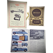 Vintage Bentley & Delahaye Automobile Brochures Owners Manuel