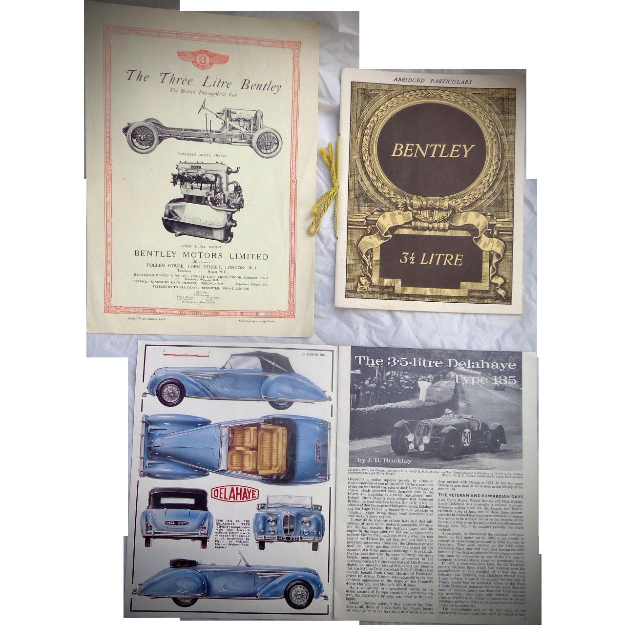 Vintage Bentley & Delahaye Automobile Brochures Owners Manuel