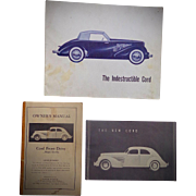 Vintage Cord Automobile Owners Manual and Brochures