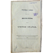 Official imprint Further Papers of Recruiting in the United States Presented to the House Parliament and Her Majesty in the year 1856.