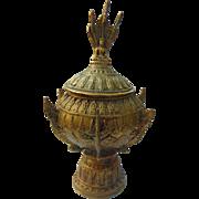Antique Hindu or Buddha Ornate Lidded Pot