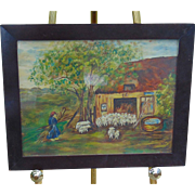 Folk Art Lancaster,Pa Oil on Board of Farm Scene 19th century