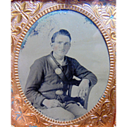 Civil War Officer Tintype of Dashing Yankee in full case