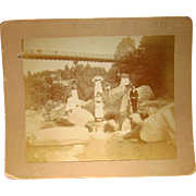 1898 Nevada City,California Photo Rock Oil Suspension Bridge Gold Rush & Sunday