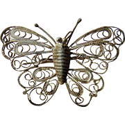 Victorian era Sterling Silver Butterfly brooch