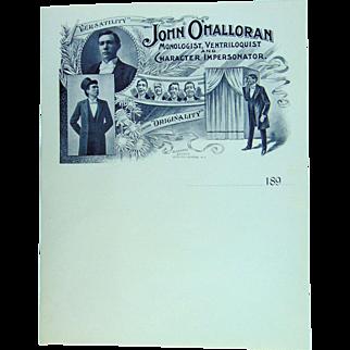 John O'Malloran Monologist,Ventriloquist and Character impersonator 1890's
