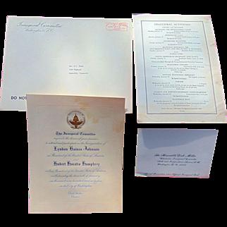 Formal invitation from Lyndon Johnson & Humphrey  Inauguration 1965