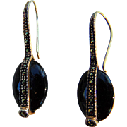 Swanky  Vintage Sterling Silver Black Hematite Earrings