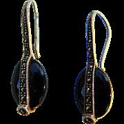 Swanky  Vintage Sterling Silver Black Hematite Earrings
