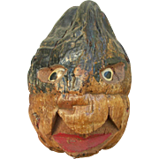 Early African-American Carved Folk Art Coconut Head