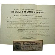 Territory of New Mexico Governor George Curry Signed Check and Delegate Appointment