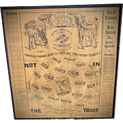 1903 Globe Tobacco Advertising Poster Uncle Sam & The Union Man